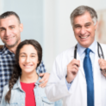 Family working with doctor